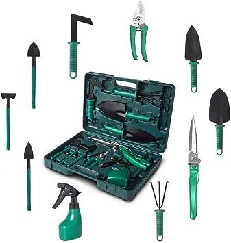 Set de herramientas de jardín, 10 en 1, herramientas de jardín robustas, con maletín de almacenamiento para los amantes del jardín HXC, Verde: Amazon.es: Bricolaje y herramientas
