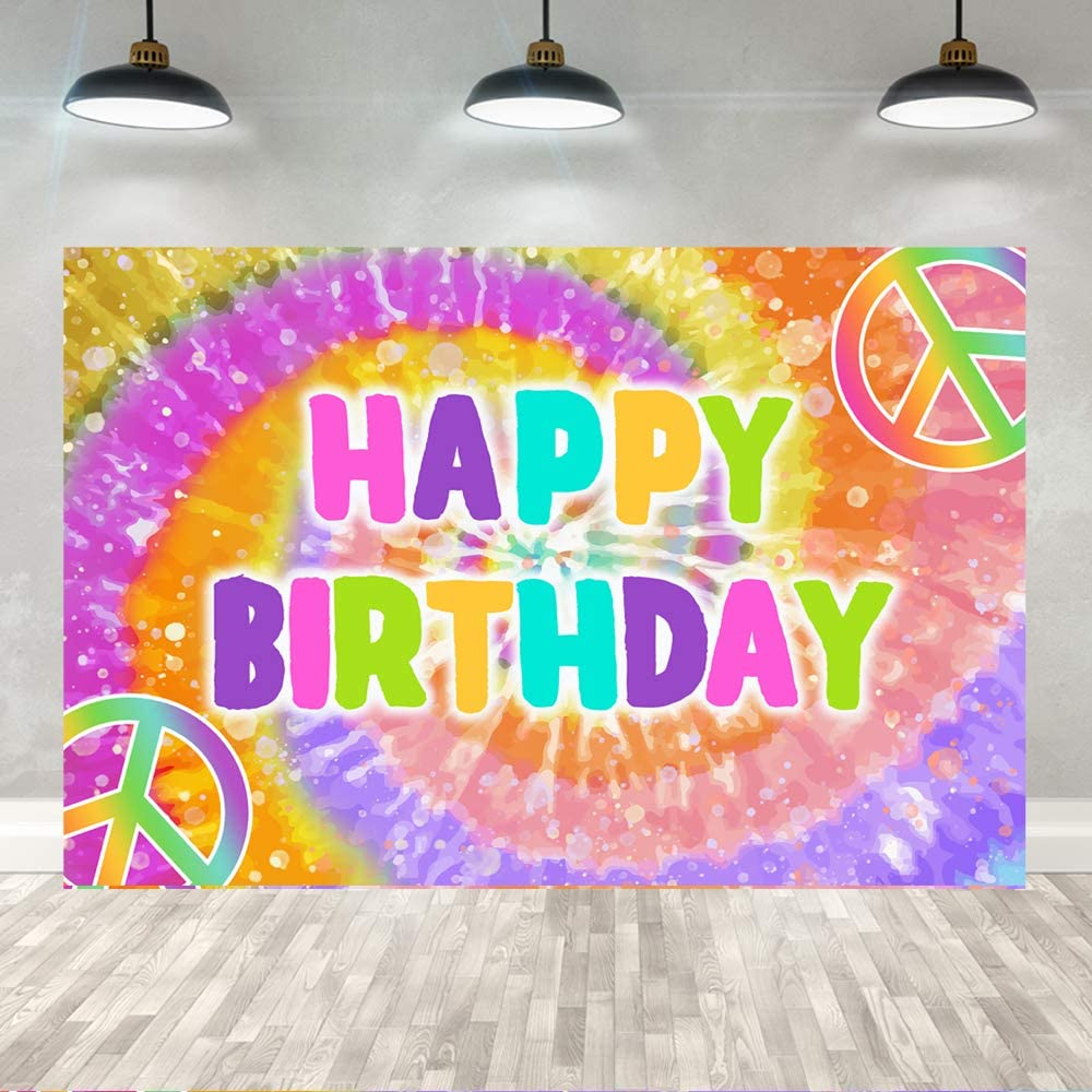 Ticuenicoa 5×3ft Tie Dye Happy Birthday Backdrop Colorful Rainbow Hippie 60's Theme Birthday Party Banner Decorations Groovy Sign Girls Children Tie-Dye Birthday Photography Background