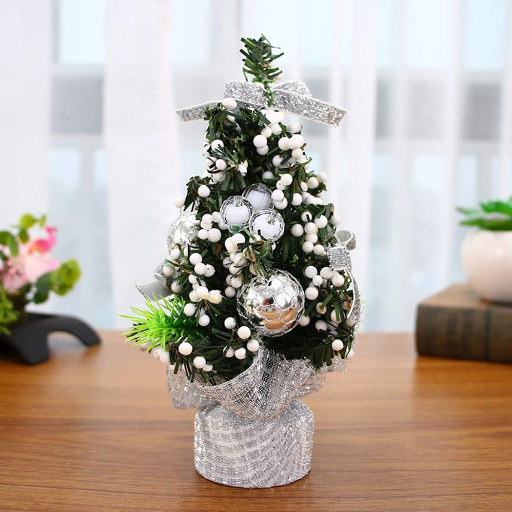Acecoree Mini Desktop TableTop Pre-lit Christmas Tree w/Berries & Gold Safflower Xmas Decor Table Decoration Small Party Ornament Burlap Base (Red cloth)