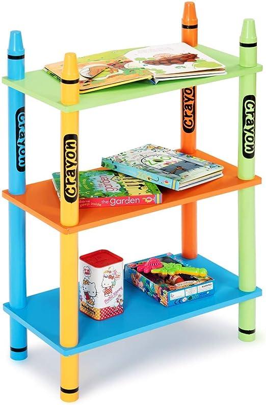 Costzon - Estantería para niños con 3 Cubos de Almacenamiento, diseño de rayón, 2 estantes, Organizador de Libros para niños: Amazon.es: Juguetes y juegos