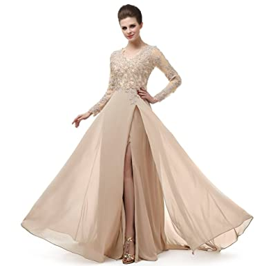 f31e53bb68ec Beautiful Prom V Neckline Ruffled Skirt Long Sleeve High Waistline Cocktail  Dress MNQ170406-Champagne-