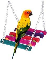 LLYWCM Noël Balançoire Coloré Couleur aléatoire de Pont Suspendu Jouets pour Animaux Oiseau Perroquet Conure Perruche Calopsitte en Bois