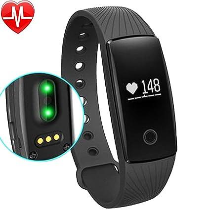 Willful Pulsómetro de pulsera podómetro Bluetooth Pulsera Fitness Tracker Band reloj con Cardio Control Música podómetro