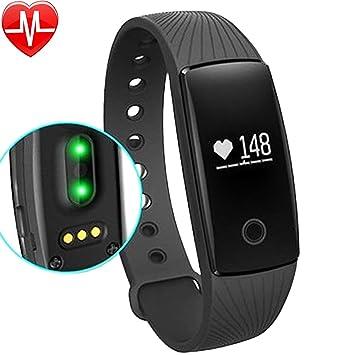 Willful Pulsómetro de pulsera podómetro Bluetooth Pulsera Fitness Tracker Band reloj con Cardio Control Música podómetro para iOS Android Correr Running ...
