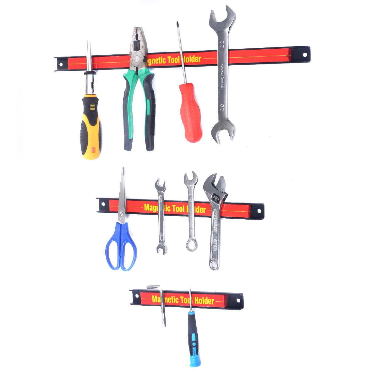 Toolsempire 3 PCS 8'' 12'' 18'' Magnetic Tool Holder Racks Steel Tool Strips Organizer Bar for Garage & Workshop