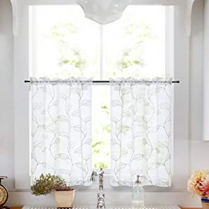 Topick Kitchen Sheer Tiers Bathroom Curtains with Leaf Embroidered Design Rod Pocket Curtain 24 inch Green on White 2 Pcs