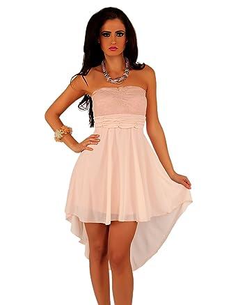 212bdc78e142 Few24 Sexy Vokuhila Partykleid,Chiffon Bandeau mit Spitze Kleid in  verschiedenen Farben (L