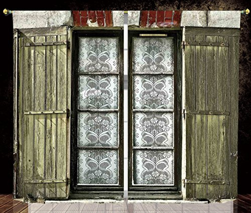 2 Panel Set Thermal Insulated Blackout Window Curtain,Shutters Decor European French Window with Antique Open Shutters Print Vintage Style Home Decor Brown White,for Bedroom Living Room Dorm Kitchen ()