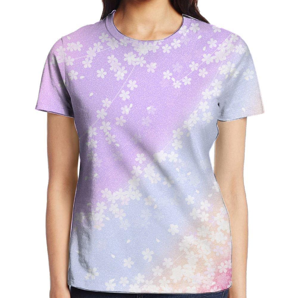 XIA WUEY Rainbow Sakura Women's Funky Graphic Tee Shirt by XIA WUEY