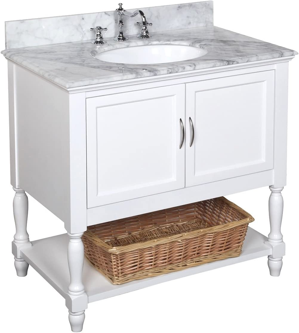 Beverly 36-inch Bathroom Vanity Carrara White Includes an Italian Carrara Marble Countertop, a White Cabinet, and a Ceramic Sink