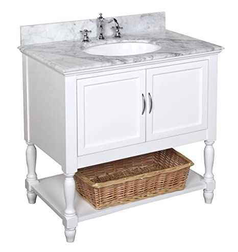 Kitchen Bath Collection KBC005WTCARR Beverly Bathroom Vanity with Marble  Countertop, Cabinet with Soft Close Function and Undermount Ceramic Sink,  ...