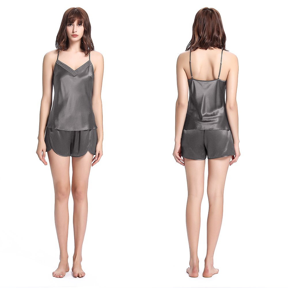 LILYSILK Women 100 Silk Pajamas Set 3 pcs 22 Momme Sleepwear Luxury Gift for Her Dark Grey 0-2/XS