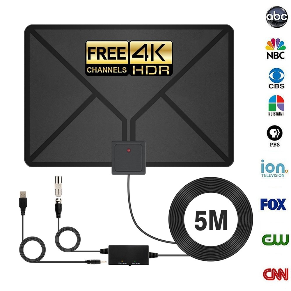 HDTV Antenna,Indoor antenna,Antenna TV Digital HD ,90 Miles Range with Support 4K 1080p & All Older TV's for Indoor with Powerful HDTV Amplifier Signal Booster-2018 Upgraded Version by GESPERT