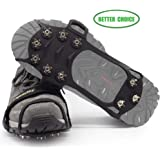 LYSHION Ice Cleats, Ice Grips Traction Cleats Grippers Non-slip Over Shoe/Boot Traction Cleat with 10 Spikes Stainless Steel for Walking on Snow and Ice