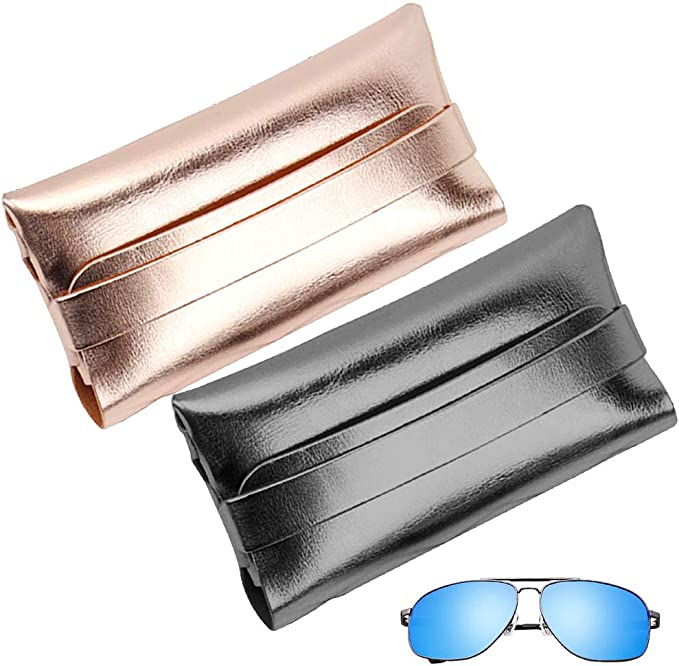 REYOK 2PCS Estuche De Gafas PU Funda Suave Gafas de Sol para Guardar Gafas de Ver Lectura Natación Grandes Pequeñas Hombre Mujer Niño Dorado, Negro: Amazon.es: Ropa y accesorios