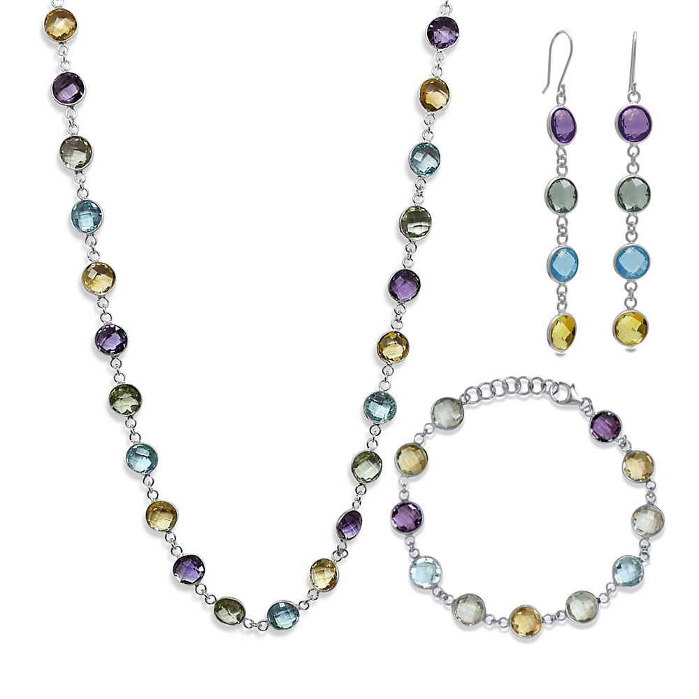 73.00 Ct Round Multi-Gemstone 925 Silver Necklace Bracelet Earrings Set