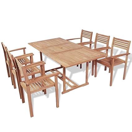 Tidyard 7 pcs Salon de Jardin en Teck Table et Chaise ...