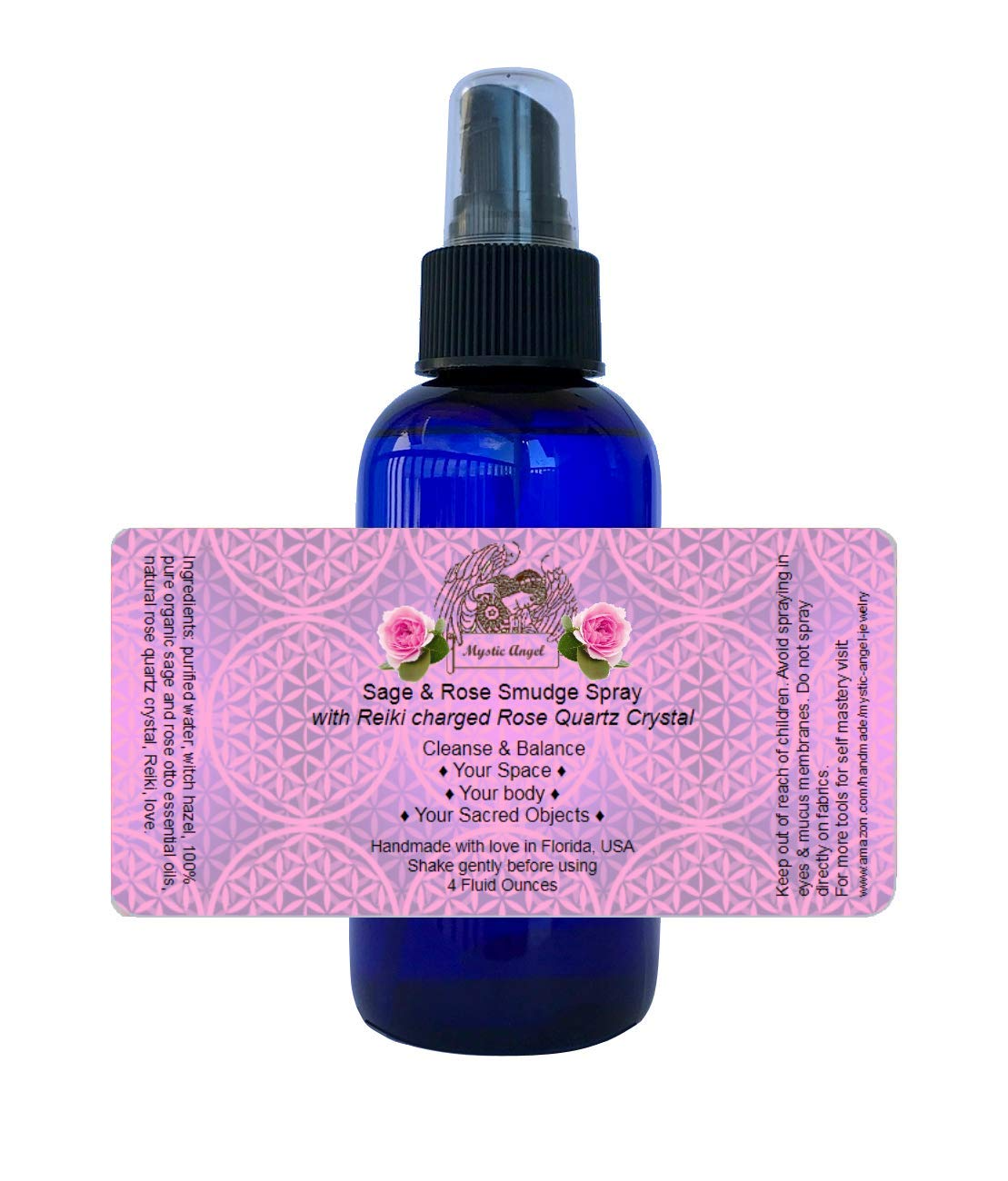 White Sage & Rose Smudge Spray (4 oz.) with Reiki Charged Rose Quartz Crystal & Archangel Chamuel Essence, 4 Oz by Mystic Angel (Image #3)