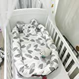Baby Bed, Eip Organic Newborn Lounger/Bed Bassinet, Perfect for Cuddling, Lounging and Co Sleeping, Portable Changeable Cover Crib Good Breathable & Hypoallergenic (Leaves)
