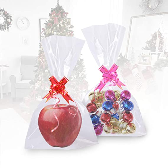 ENCEEN 100Pcs Clear Cellophane Bags Flat Bottom Treat Bag Party Favor Cello Gift