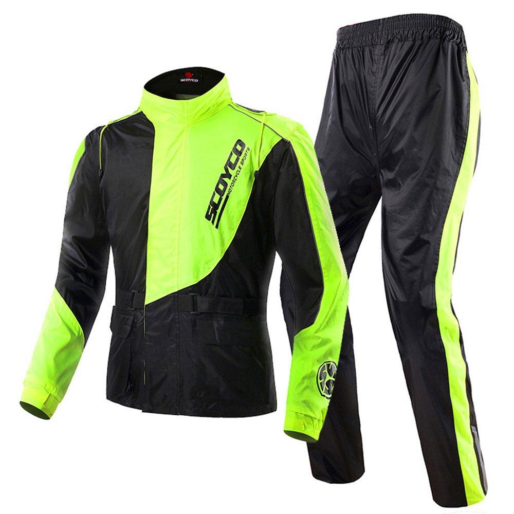 Scoyco RC01 Motorcycle Rain Coat Pants Set Sports Waterproof Jacket Suit Men (XXL) Yuandongsen