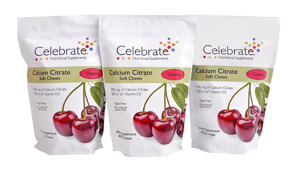Celebrate Calcium Citrate Soft Chews - 500 mg - Cherry - 3 Pack