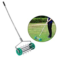 Estink Lawn Aerator,Heavy Duty 18inch Steel Lawn Spike Aerator Garden Yard Rotary Push Tine Spike Soil Aeration With Aluminum Handle