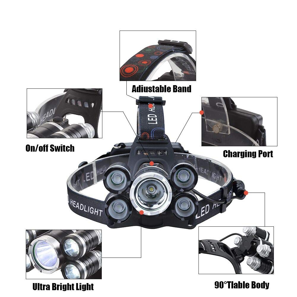 Headlamp 12000 Lumen Ultra Bright CREE LED Work Headlight USB Rechargeable, 4 Modes Waterproof Head Lamp Best Head Lights for Camping Hiking Hunting Outdoors by Alyattes (Image #2)