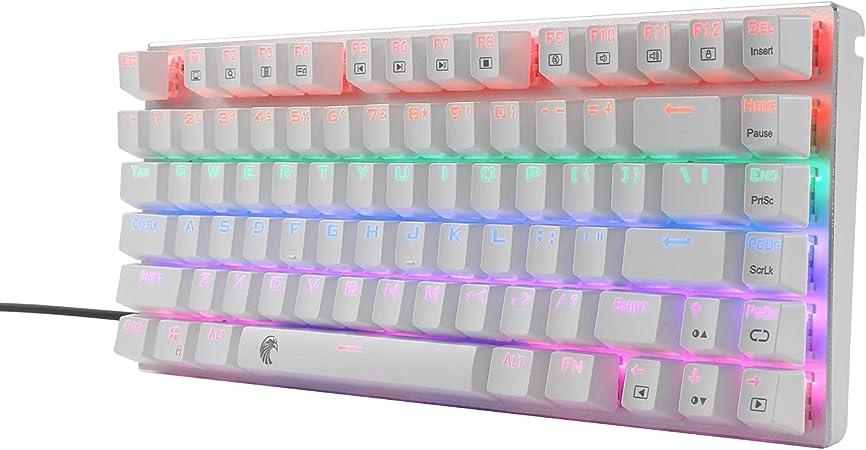 Z-88 Mini teclado mecánico para gaming, interruptor azul, iluminación LED, compacto, 81 teclas, disposición estadounidense, TKL, teclado mecánico para ...