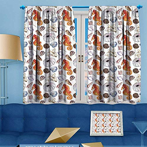 PRUNUS Blackout Curtain Watercolor sea Ocean Seahorse Seashell Coral Reef Polyp ammonit Urchin Seamless Decorative Curtains for Living Room W63 x L72 inch (Star Polyp Coral)