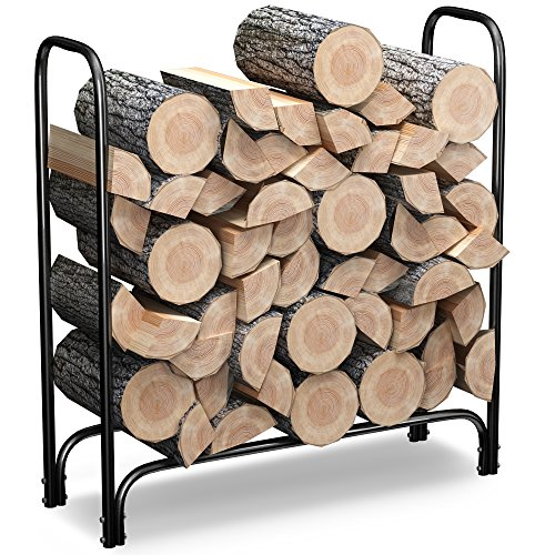 Log Holder Rack (Firewood Log Rack Steel Holder - 4 Feet - Outdoor Indoor Cut Wood Storage for)