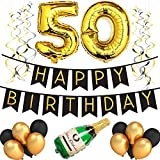 50th Birthday Party Pack – Black & Gold Happy Birthday Bunting, Poms, and ...