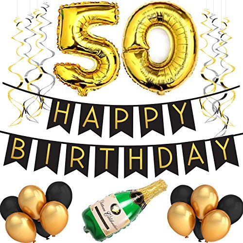 50th Birthday Party Pack – Black & Gold Happy Birthday Bunting, Poms, and Swirls Pack- Birthday Decorations – 50th Birthday Party