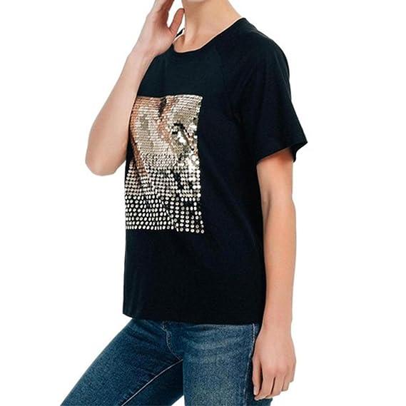 Yying Mujeres Manga Corta Camisetas - Elegante Cuello Redondo Shirt Lentejuelas Blusa Casual Camisa Tops para Verano Primavera Tallas Grandes: Amazon.es: ...
