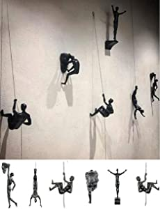 Men Climbing Wall Sculpture - Modern Industrial Durable Polyresin Climbing Man Heavy Duty Art Wall Sculpture Resin Creative Climbing Man Wall Sculptures Hand-Finished for Art Home Decor (B)