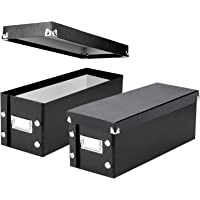 """Snap-N-Store CD Storage Boxes, Set of 2 Boxes, Each 13.25"""" x 5.125"""" x 5.125"""", Holds up to 165 CDs, Black (SNS01617)"""