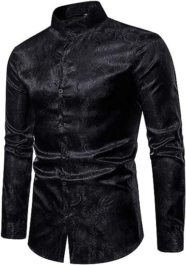 Reooly Camisa de Hombre Camisa de Manga Larga con Rayas Delgadas Camisa Casual con Botones Top Formal: Amazon.es: Ropa y accesorios
