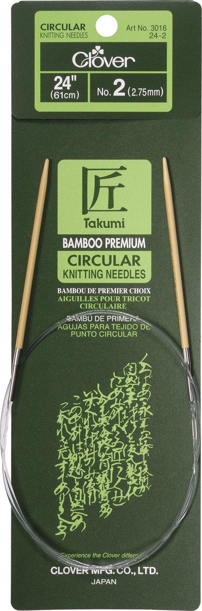 Size 10 Clover 3016//24-10 Takumi Bamboo Circular 24 inch Knitting Needles