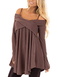 9e33ed549e1 shushuKISS Womens Off Shoulder Sweater Spaghetti Strap Asymmetrical Hem Knitted  Tunic Sweatshirt