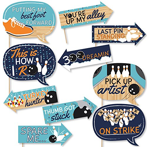 Pin Photo Bowling (Funny Strike Up the Fun - Bowling - Birthday Party or Baby Shower Photo Booth Props Kit - 10 Piece)