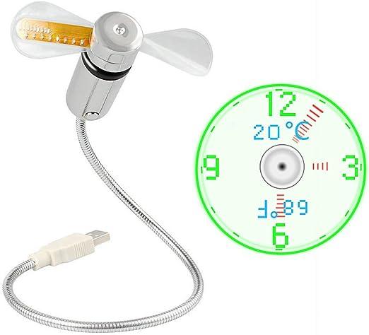 JIAMA Ventilador de Reloj USB LED Alimentado por USB Ventilador ...