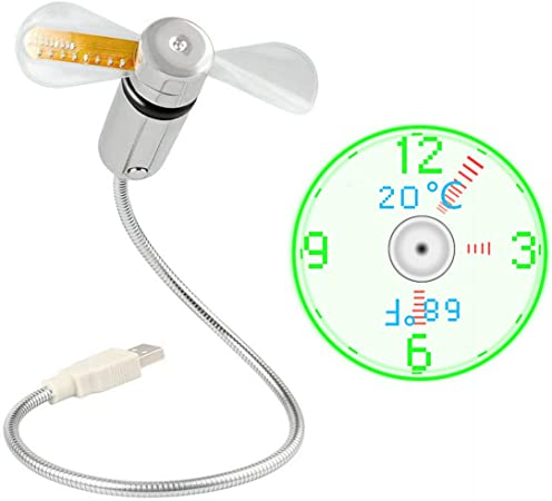 JIAMA Ventilateur D'horloge LED USB Alimenté par USB Ventilateur Portable avec Horloge et Affichage de la Température Mini Ventilateur de