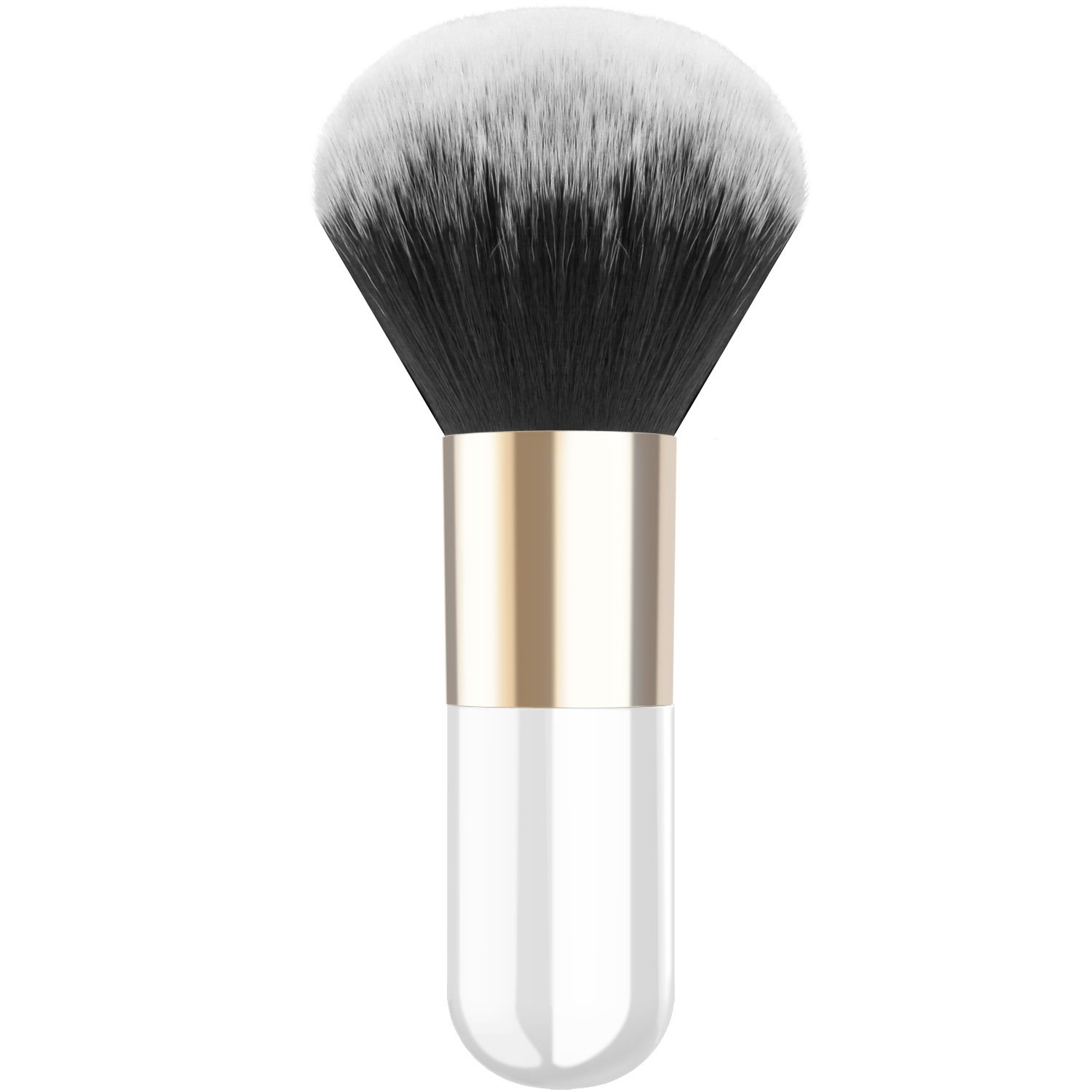 Luxspire Professional Makeup Brush Flat Kabuki Brush, Single Handle Large Round Head Soft Face Mineral Powder Foundation Brush Blush Brush Cosmetics Make Up Tool, White & Gold