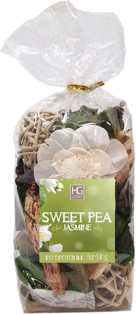 Hosley 5 Ounce Chunky Potpourri. Your Choice of Fragrances. Ideal for Dried Floral Arrangements, Spa, Reiki, Meditation, Bathroom Settings (Sweet Pea Jasmine)