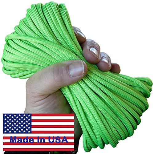 7-Strand Spring Grass Neon Green Paracord / Parachute Cord 50 Ft. Hank. Guaranteed U.S. Made Military Survival Cord, Type III, 550 Lb. Break Strength. Includes Two Ebooks.