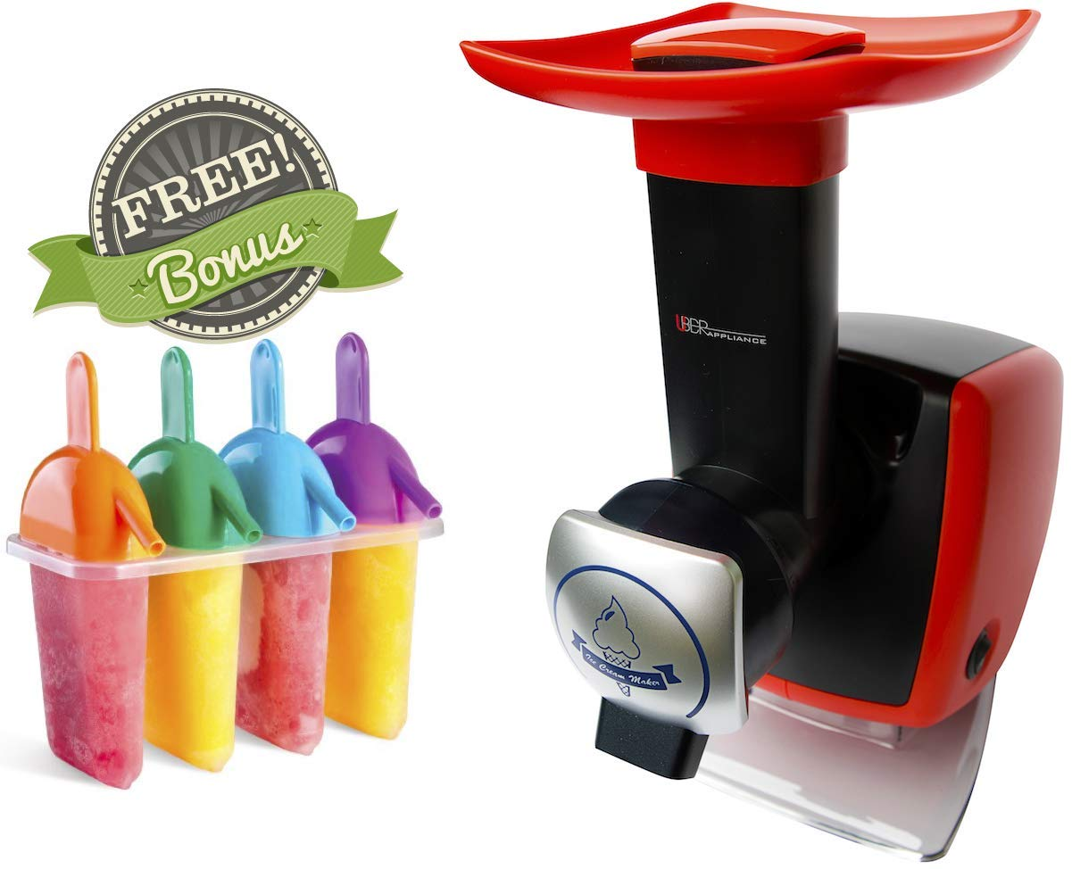 Uber Appliance Sorbet and Frozen yogurt maker machine Automatic frozen soft serve fruit dessert healthy homemade sherbet machine - 4 pc Popsicle molds and recipe book included (Red)