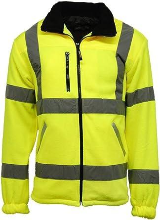Mens Hi Vis Fleece Jacket With Rain Patch Womens High Visibility Work Wear Coat