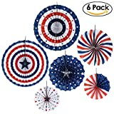PBPBOX Fourth of July Fan Decoration Patriotic Round Folding Hanging Paper Fans, Pack of 6