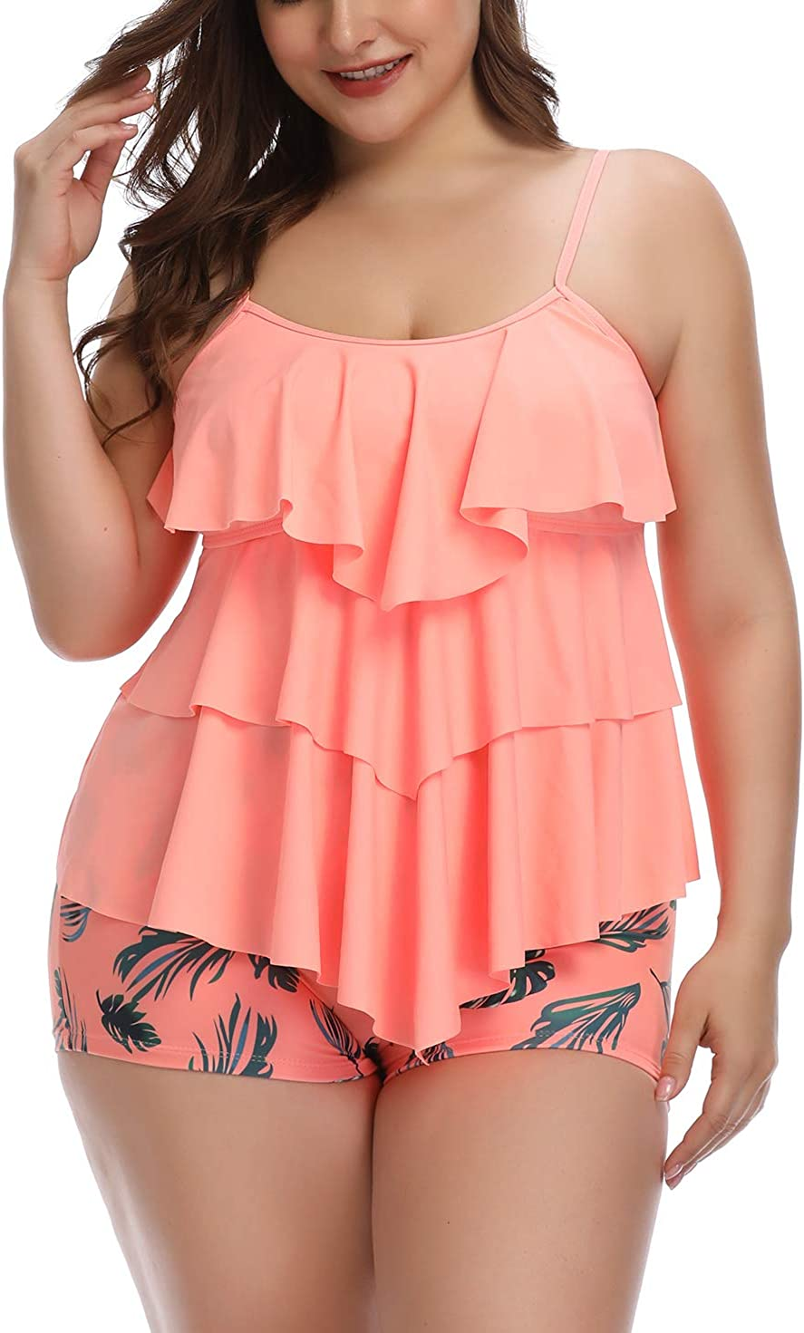 Yonique Womens Plus Size Tankini Top with Shorts Flounce Slimming Swimwear Two Piece Floral Printed Swimsuit