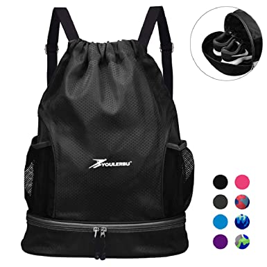 962a3f47d44 Drawstring Backpack Bag Water Resistant With Shoe Compartment Sackpack with  Dry Wet Separated Sports Waterproof Gym